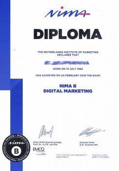 Diplom vypusknika kursa NIMA B ot Niderlandskogo instituta marketinga