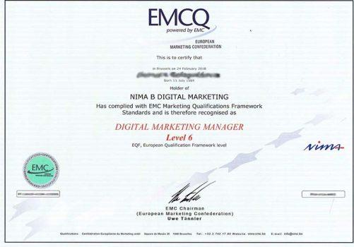 Sertifikat digital direktora Evropejskoj marketingovoj konfederacii EMS
