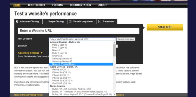 оценка скорости загрузки сайта WebPagetest